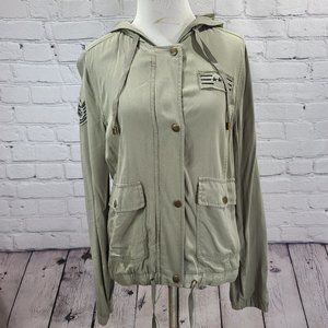 Maurices light olive green military style coat